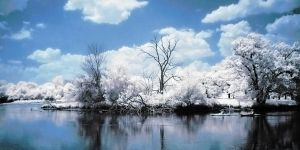 Infrared River and Blue Skies by Wallcrawler62