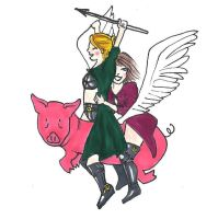 Bisy and Crisy the Valkyries with the Flying Pig by plumcake-mery