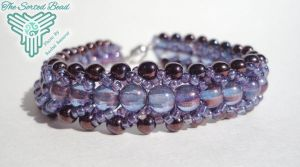 Beaded Flat Spiral Bracelet, Amethyst Luster by TheSortedBead