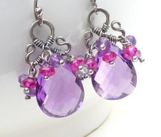 Amethyst sterling earrings by CreativityJewellery