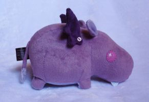 Purple Vampire Hippo Plushie by Pwyllo