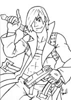 Dante Sketch Card BW by ibroussardart