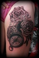 Compass and Roses Tattoo detailed by Slabzzz