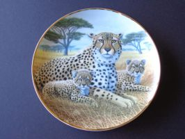 Cheetah and Cubs Plate by DejavuEstudios09