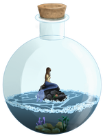 Mermaid in a bottle by Carreauline