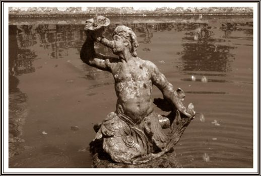 Statue in the water-sepia by Iuliaq