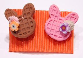 diferent rabbit waffle earings by knil-maloon