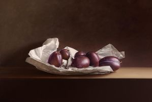 Plums on Wrapping Paper by m-v-c