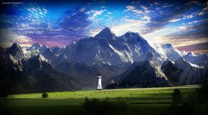 Lighthouse and Mt. Everest by MisterDedication
