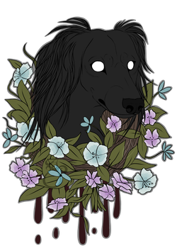 Dark Floral Canine Print by LinksEyebrows