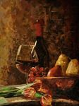 wine bottle and fruits (collage version) by peelonika