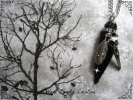 HANDMADE - Raven Obsidian Necklace by IWantCandyCreation