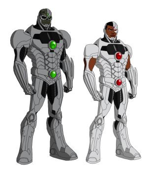 Cyborg and Grid, after Phil Bourassa's work by Majinlordx