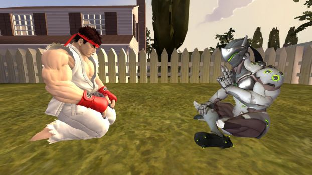 SFM: Ryu and Genji Meditating by ElectricFox37