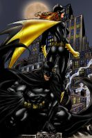 Batman and Batgirl colors by brimstoneman34