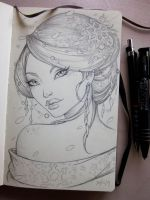 Winter Geisha Moleskine sketch by Sabinerich