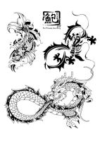 dragons and kois designs by kapao