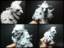 Goblin warrior bust by giolord11