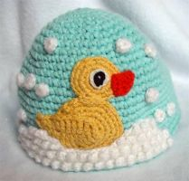 Crochet Rubber Duckie Hat by meekssandygirl