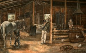 The Blacksmith Shop - OIL PAINTING by AstridBruning