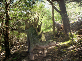 The Chase - Stegosaurus and Allosaurus by Sketchy-raptor