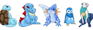 Water Starters by CheezieSpaz