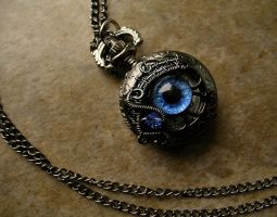 Petite Blue Eye Pocket Watch - Smoke Black Pewter by LadyPirotessa