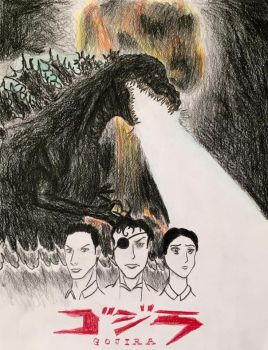 Gojira Anime/Manga Style Drawing by Kongzilla2010