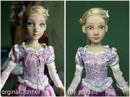 My Tonner Rapunzel before and after repaint by kamarza