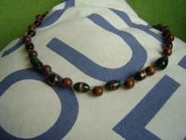 glass and wood necklace by were-were-wolfy