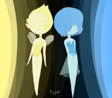 Yellow and blue pearl by CreativeRiceball