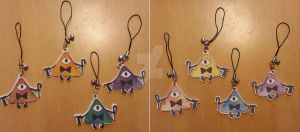 Bill Cipher charms by PassionSnapping