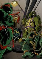 Tmnt With Background Colors Done Low Res by BDixonarts