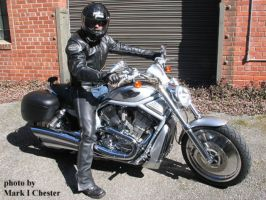 self portrait ~ my leather and bike by Mark-D-Powers
