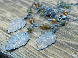 Custom Hazelnut Leaf and Tourmaline Necklace by QuintessentialArts