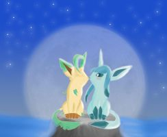Glaceon and leafeon by BlueBubble-L