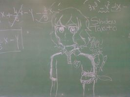 Ina11GO!: Shindou Takuto in the school blackboard by Abyzz01