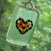 Fused Glass Heart Pendant by EricaVee