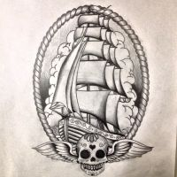 Oldskool ship tattoo design by dazzbishop
