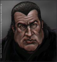 Steven Seagal Portrait Caricature by Sebastien-Ecosse