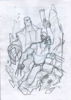 Hellboy and Logan - Commission Layout by DenisM79