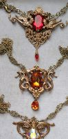 Crystal Fantasy Necklaces - Brass by blackcurrantjewelry