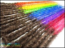 Custom Wrappy Rainbow Synthetic Dreads by ChaotikFalls