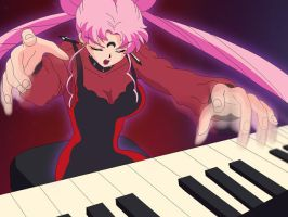 Black Lady playing a piano by angle333