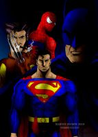 Batman,Superman,Spiderman and Wolverine by terry312237