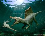 Spinosaurus Vs Onchopristis by haghani