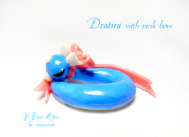 Dratini with Pink bow by rosepeonie