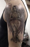 Angel with heart Tattoo by Zindy