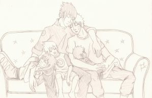 SasuNaru (family) ~ nap time by artluvr103