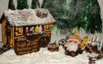 Gingerbread Shop and Shopkeeper in Winter w/ Names by KarenzaFritters